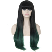 280g 80cm Two Tone Ombre Colour Heat Resistant Synthetic Fibre Wigs Natural Straight with Flat Bangs Black Root Malachite Green mixing Replacement Hair Wig With Fringe Bangs