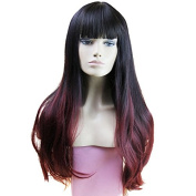 280g 80cm Two Tone Ombre Colour Heat Resistant Synthetic Fibre Wigs Natural Straight with Flat Bangs Black Root burgundy Replacement Hair Wig As Real Hair Wig for Daily Use