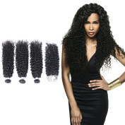 Brazilian Virgin Hair Extensions Kinky Curly Hair Weave 3 Bundles 300g with Lace Closure Weft12 14 16 with 10 free part