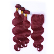 Tony Beauty Hair Burgundy #99J Virgin Hair With Closure Wine Red Body Wave Human Hair 3 Bundles With Lace Closure 4x4 Free Parting