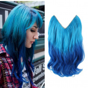 HairPhocas 36cm Light Blue to Dark Blue Ombre Colour Secret Hair Extensions Synthetic Curly Wave Hairpieces
