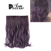 HairPhocas 36cm Black Purple Mixed Violet Dip Dye Secret Hair Extensions Synthetic Curly Wave Hairpieces