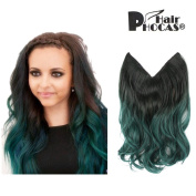 HairPhocas 36cm Green Omber Dip-dye Ombre Secret Hair Extensions Synthetic Curly Wave Hairpieces