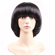 117g Cute Personalied Natural Straight Mushroom Hair Wig Heat Resistant Synthetic Fibre Hair Wig Short BOBO With Flat Bangs Daily Use Or Fun Party