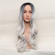 Fashion popular Long Wig 70cm Black Root Sliver Grey Granny Grey Grey Stylish Cos Big Wave Curl Replacement Wig Heat Resistant Synthetic Fibre As real Hair For Daily Use Or Cosplay Costume