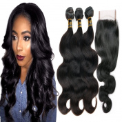 Uneed Hair Free Part 1pc 4x4 Lace Closure with Grade 7a Unprocessed Virgin Brazilian Body Wave Hair Extension Weave 3 Bundles Remy Human Hair 4 pc/Lot Natural Colour