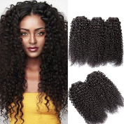 MOXIKA 3 Bundles Malaysian Virgin Curly Hair Weave 16 16 46cm 8A Unprocessed Human Hair Extensions Natural Colour Can Be Dyed and Bleached