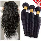 My Lady 7A 1 Bundles/100g 100% Unprocessed Virgin Brazilian Human Hair Weave Loose Wave Hair Extensions Weft #1b Natural Black