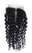 OBeauty Grade 7A Middle Way Part Kinky Curly Lace Closure Peruvian Virgin Human Hair 10cm x 10cm Natural Black Bleached Knots