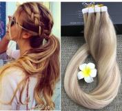 Full Hair 60cm P Colour #18/613 Caramel Blonde & Blonde 20 Pcs 50g Per Set Pu Tape in 100% Remy Human Hair Extensions Fashion Tape in Hair Extensions