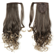 OneDor 50cm Long Curly Wrap Around Ponytail Hair Extension Synthetic Hair 120g-130g
