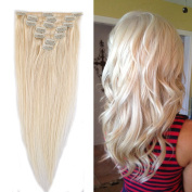 100% Remy Human Hair Clip in Extensions Grade AAAAA Natural Hair Full Head 7pcs 16clips Standard Weft Long Silky Straight for Women Fashion and Beauty