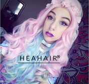 Heahair New Arrival Pink Colourful Pastel Handtied Lace Wig Rainbow Fahsion Synthetic Lace Front Wigs for Party