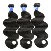 Shacos 8A Grade Malaysian Hair 3 Bundles Body Wave 100% Unprocessed Human Hair Weave Extensions Nature Colour,300 Grammes/Lots