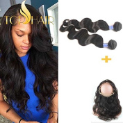"""Top Hair 2pcs 100% Virgin Brazilian hair Bundles Body Wave Human Hair With 360 lace frontal Band Closure 22.5""""x4""""x2"""" Body Hair Around And Natural Hairline"""