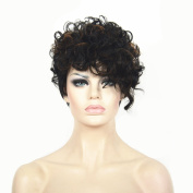 StrongBeauty Women Short Pixie Cut Hairstyles Synthetic Curly Brown Black Trendy Hair Wig