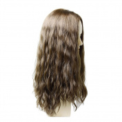 Wefted Topper- French Top Human Hair Piece-#24/14 Dark Blonde Base w/ Platinum Blonde Highlights-9x 9-50cm -Wavy Hair Texture