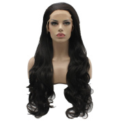 Lushy Stylish Wavy Long Brown Colour Wigs Half Hand Tied Heat Friendly Full Density Synthetic Hair Lace Front Women Natural Wigs