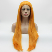 Lushy Straight Extra Long Orange Colour Wigs Half Hand Tied Heavy Density Heat Friendly Synthetic Hair Lace Front Women Costume Party Wigs