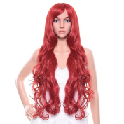Uarter Cosplay Wigs Spiral Curly Wavy Hair Heat Resistant with Free Wig Cap, Wig Comb and Clips, 80cm , Red