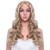 Uarter Blonde Wig Long Curly Wavy Hair with Free Wig Cap, Wig Comb and Clips for Cosplay, Costume Party or Daily Use
