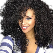 ATOZHair New Arrival Fashion Middle Long Synthetic Curly Wave Synthetic Black Wig for Black Woman