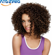 ATOZWIG African American Short Curly Wigs for Women Heat Resistant Synthetic Black/Blonde Women Realistic Afro Kinky Curly Wig