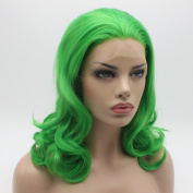 Lushy Cheap Stylish Medium Long Green Colour Wigs Heat Resistant Heavy Density Synthetic Hair Lace Front Women Beautiful Wigs