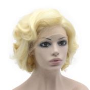 Mxangel Heat Resistant Synthetic Lace Front Natural Short Curly 613 Blonde Wig
