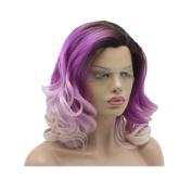 Lushy Cheap Stylish Medium Long Dark Root To Purple Light Blonde Ombre Colour Wigs Heat Friendly Heavy Density Synthetic Hair Lace Front Women Beautiful Wigs