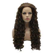 Lushy Cheap Long Curly Brown Blonde Mix Colour Wigs Heavy Density Heat Resistant Synthetic Hair Lace Front Women Stylish Wigs
