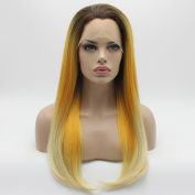 Lushy Cheap Straight Long Silky Three Tone Ombre Dark Root To Golden Light Blonde Colour Wigs Half Hand Tied Heat Resistant Heavy Density Synthetic Hair Lace Front Women Natural Wigs