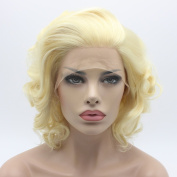 Lushy .  Cheap Wavy Short Light Blonde Colour Heavy Density Heat Resistant Synthetic Hair Lace Front Women Wigs