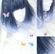 ATOZHair Christmas Short Pear Flower Synthetic Omber Deep Blue to Light Blue Wig
