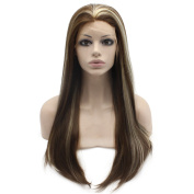 Mxangel Heat Resistant Highlight Brown Synthetic Front Lace Wig Natural Long Straight Wig