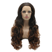 Lushy Cheap Long Natural Wavy Brown Root To Auburn Ombre Colour Wigs Half Hand Tied Heat Friendly Synthetic Hair Lace Front Women Natural Wigs