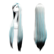 """100cm 39.4"""" Long Straight Wigs Anime Cosplay Women Ladies Oblique Bangs Wig with Lace Cap for Halloween Party"""