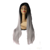 Beata Hair Long Straight Ombre Silver Grey Dark Roots Synthetic Lace Front Wig for Black Women Heat Resistant Fibre Hair 60cm