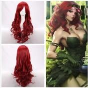 ATOZWIG Long Wavy dark Red Anime Cosplay Hair Wig +Free wig cap