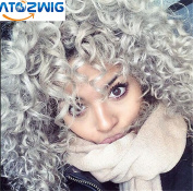 ATOZWIG New Heat Resistant Synthetic Black To Grey Curly Wigs Pixie Cut Hair Kinky curly wig For Black Women Peruca Preta