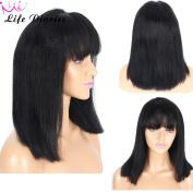 Life Diaries 150% Density Short Heavy Italian Yaki Straight Bob Wig With Bangs Glueless 10cm Part Lace Front Wigs 8A Unprocessed Brazilian Virgin Human Hair