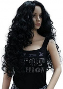 Diy-Wig Sexy Long Black Curly Natural Synthetic Wigs Cosplay Party or Daily Use