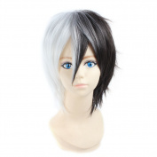 CoolCos Unisex White And Black Short Full Synthetic Cosplay Costume Party Wigs