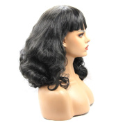 V'Nice Body Wavy Synthetic Lace Front Wigs with Full Bangs Natural Black Heat Resistant Fibre