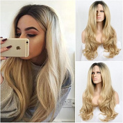 Ombre Long body wave blonde Wavy Synthetic Lace Front Wig Two Tone Colour 1B Black Root To Purple Heat Resistant Hair Wigs For Women