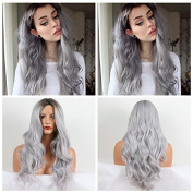 Ombre Long Wavy Synthetic Lace Front Wig Two Tone Colour 1B Black Root To silver grey Heat Resistant Hair Wigs For Women