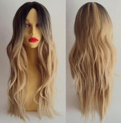 Diy-Wig Long Natural Mixed Dark Ombre Blonde New Wigs for Women