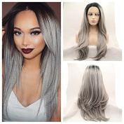 nature straight ombre Black to grey Synthetic lace front mermaid wig with dark root for women with heat resistant fibre darg queen African American black and white women