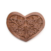 Hand Carved Heart Shape Wooden Barrette, Fair Trade