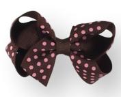 Hair Bow 2.5cm Grosgrain Ribbon 7.6cm Width Tiny Polka Dot Print